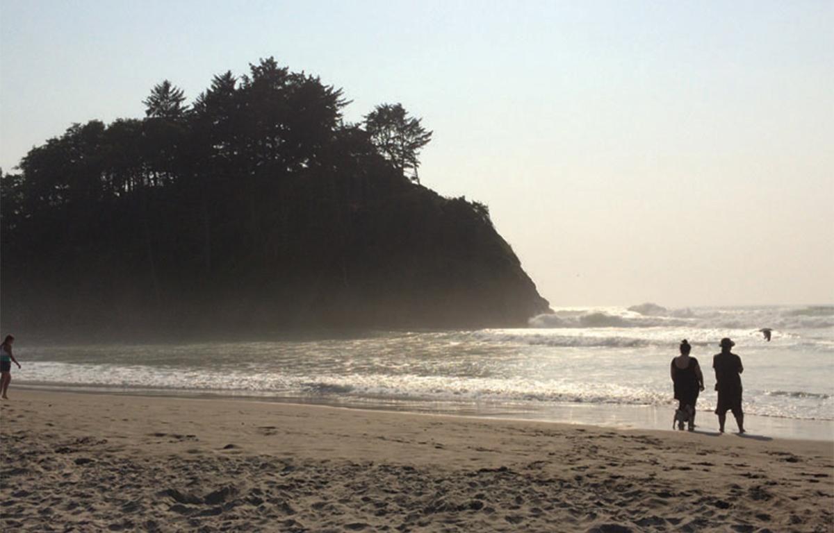 A sunlit beach.