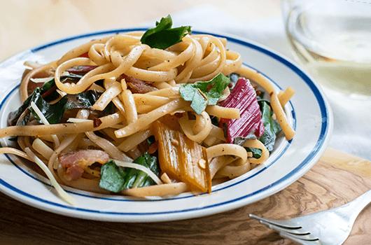 Pasta Bacon Chard recipe LifeSource