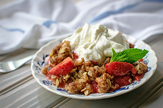 Strawberry Rhubarb Crisp On A Plate