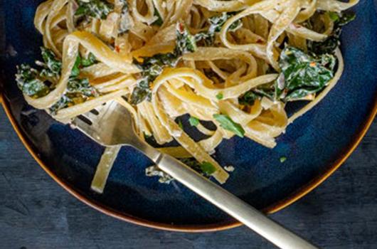 Pasta With Kale Strips, and Creamy Vegan Lemon-Garlic Sauce