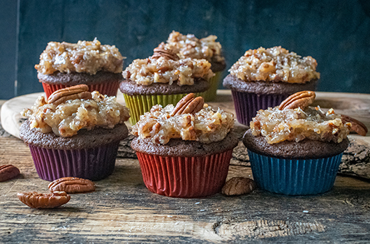 Vegan German Chocolate Cupcakes