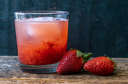 Strawberry Rose & Rhubarb Sake Cocktail